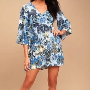 Jack by BB Dakota Bell Sleeve Blue Print Dress